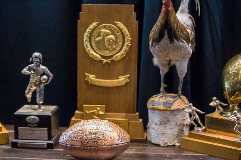 Awards and momentos from Tubby Raymond's career on display during his memorial service