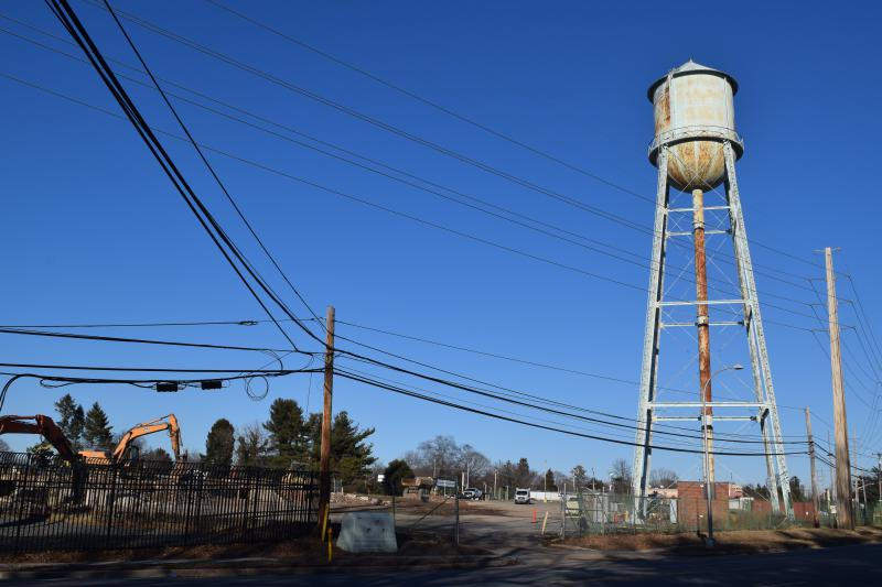 The water tower at the old Playtex site in Dover.