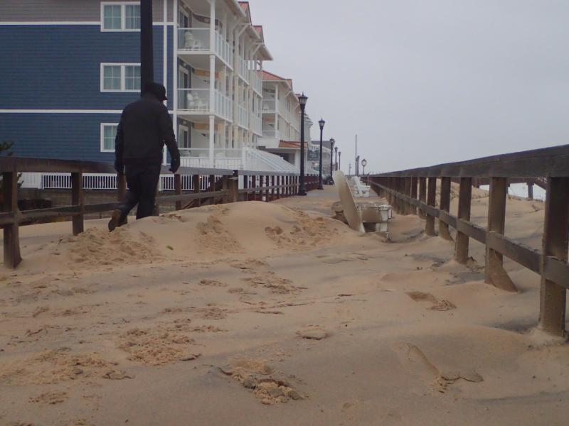 A picture of the Bethany Beach boardwalk, taken after a March 2018 nor'easter.