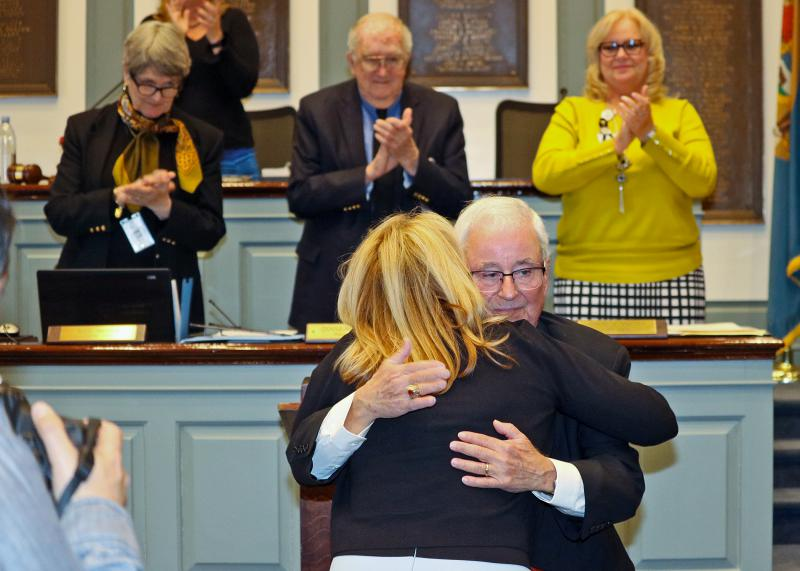 Following his announcement on the floor of the House of Representatives this afternoon, State Rep. Joe Miro receives an embrace from State House Majority Leader Valerie Longhurst.