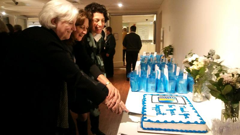 Board Chair Drewry Fennell, President Jane Vincent, Board Member Andrea Tinianow Cut the Cake!