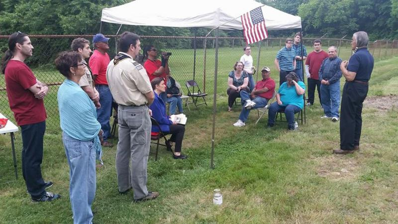 """Chief """"Quiet Thunder"""" Gilbert, Past Chief of Nanticoke Lenni-Lenape Tribal Nation of New Jersey and Cheswold resident, addresses direct descendants at last year's event"""