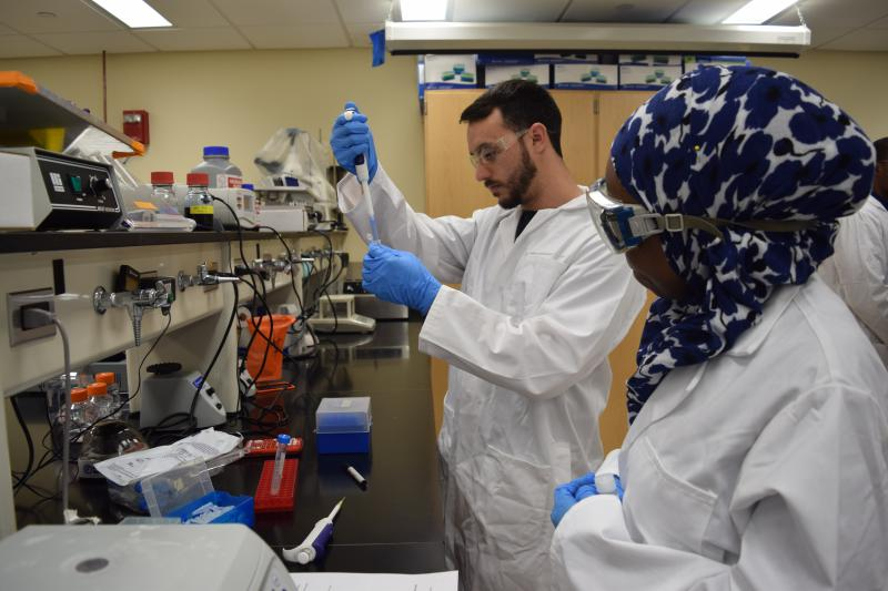 Lena Ravenelle and Darwin Gibbons work with E. coli cells.