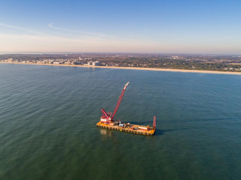 Haakon Barge, owned by Manson Construction, working on the ocean outfall project in the  Atlantic.
