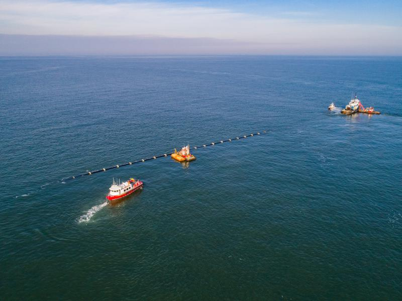 Haakon Barge and support vessels working on the ocean outfall in the Atlantic.