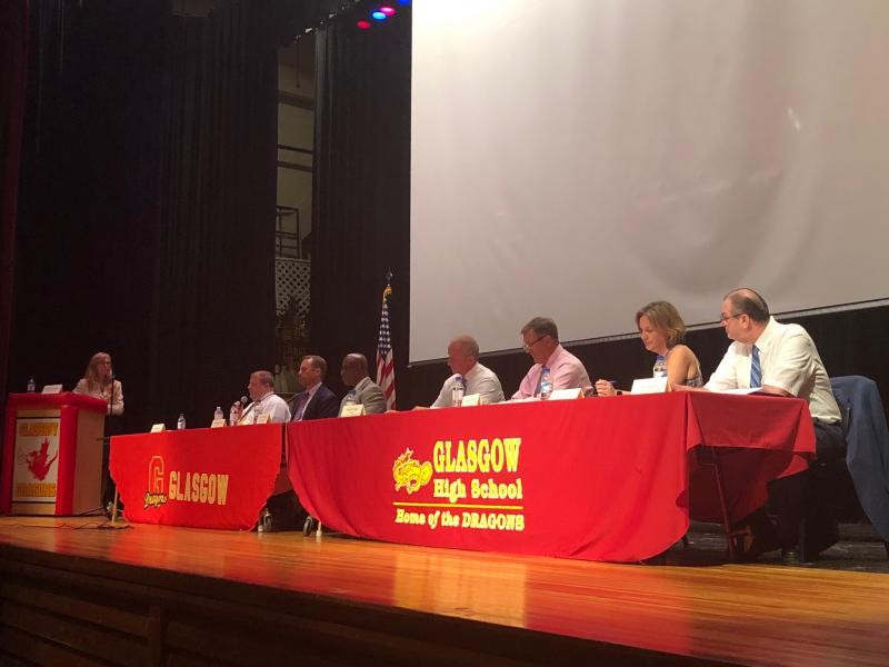 Sen. Stephanie Hansen moderates a panel on school safety at Glasgow High School