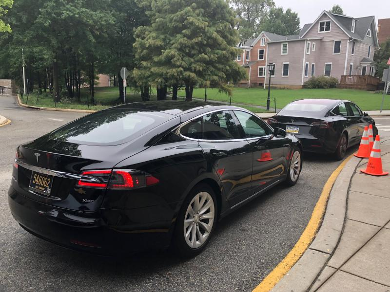 Two all-electric Teslas at the event in Newark