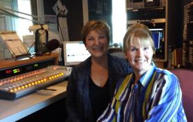 Lehigh Valley Discourse host Pamela Varkony (right) with Cindy Ratzlaff in the WDIY studio.