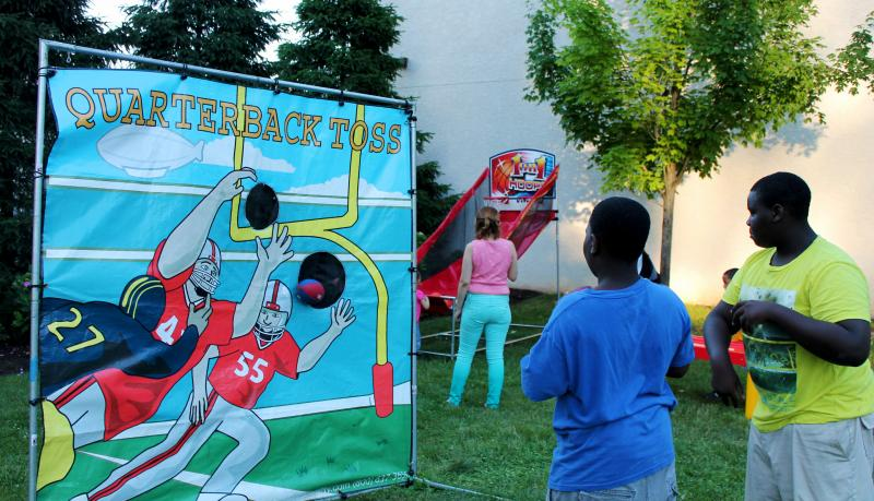 For older kids, there was a football toss and basketball hoop.