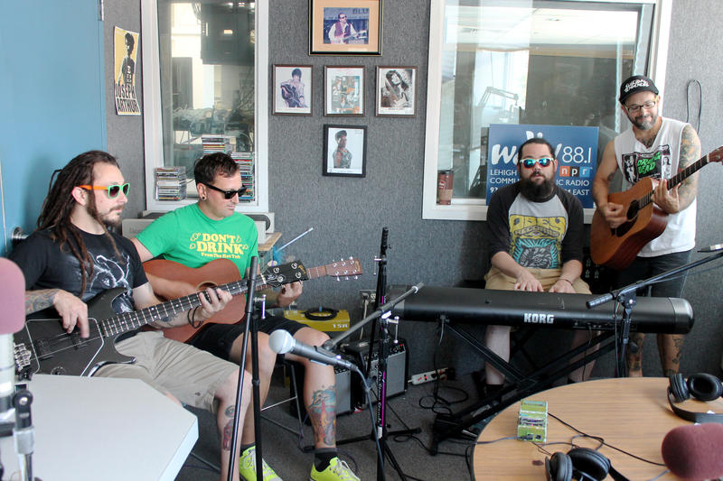The Insidious Rays live in-studio at WDIY | Left to right: Seth Juknevic, Mikey Davidson, Chris McDermott, and Matt Juknevic