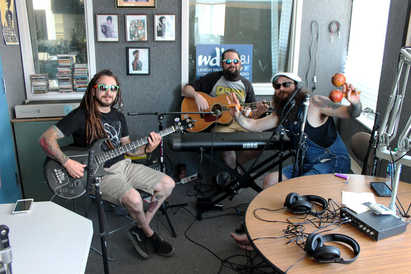 Trouble City All-Stars in-studio at WDIY | Left to right: Seth Juknevic, Chris McDermott, Todd Juknevic