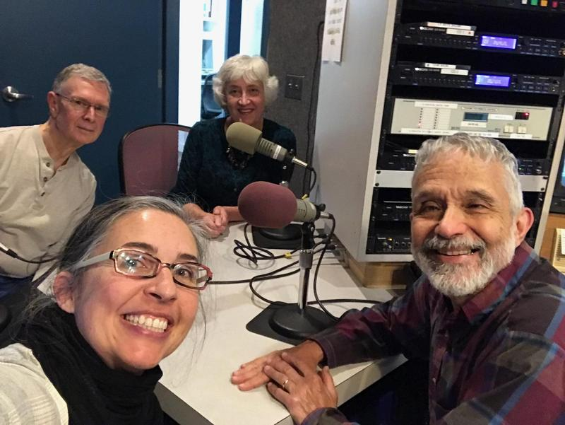 In the back, left to right:  BFAC's Richard Begbie and Mary Mulder; in the front, left to right: host Silagh White and engineer Steve Aaronson