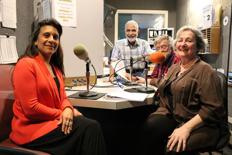 Left to right: artist D Nina Cruz, board operator Steve Aaronson, host George Miller, and host Kate Scuffle