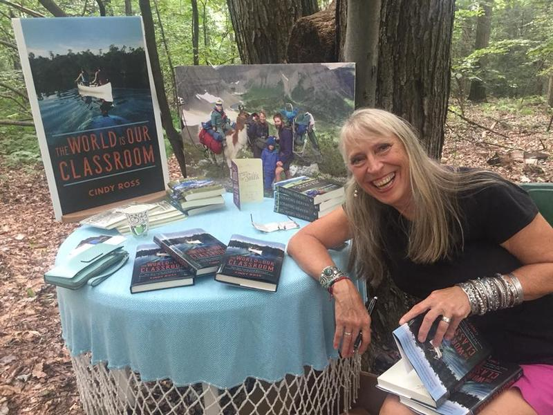 Cindy Ross with her new book, 'The World Is Our Classroom'.