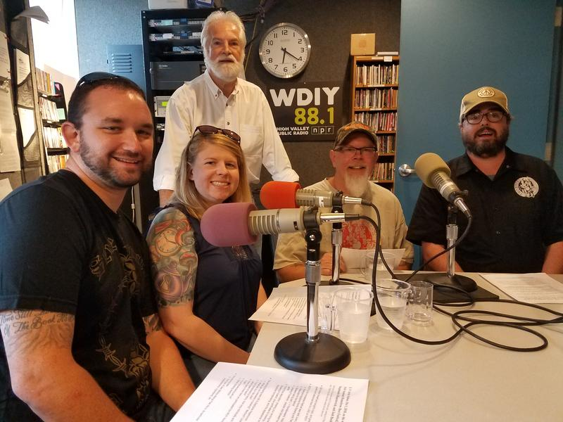 Left to right: Bill and Stephanie Hapenovich (winning homebrewers), Bill Dautremont-Smith (host), Troy Reynard (Two Rivers co-owner), Josh Bushey (Two Rivers head brewer)