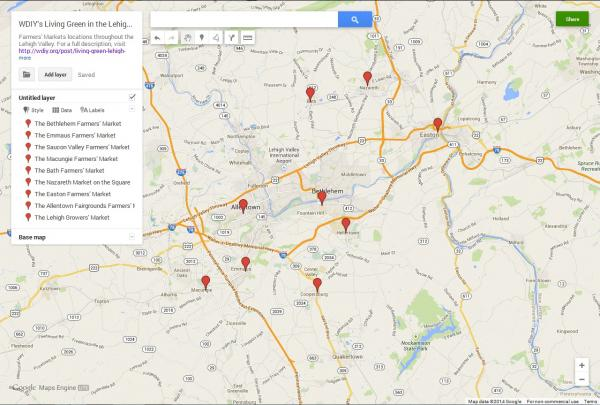 An interactive map of Lehigh Valley Farmers' Markets is available here: http://ow.ly/ybhVX