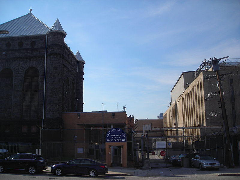 Baltimore City Detention Center — visitors' entrance — looking south from north side of Eager St.