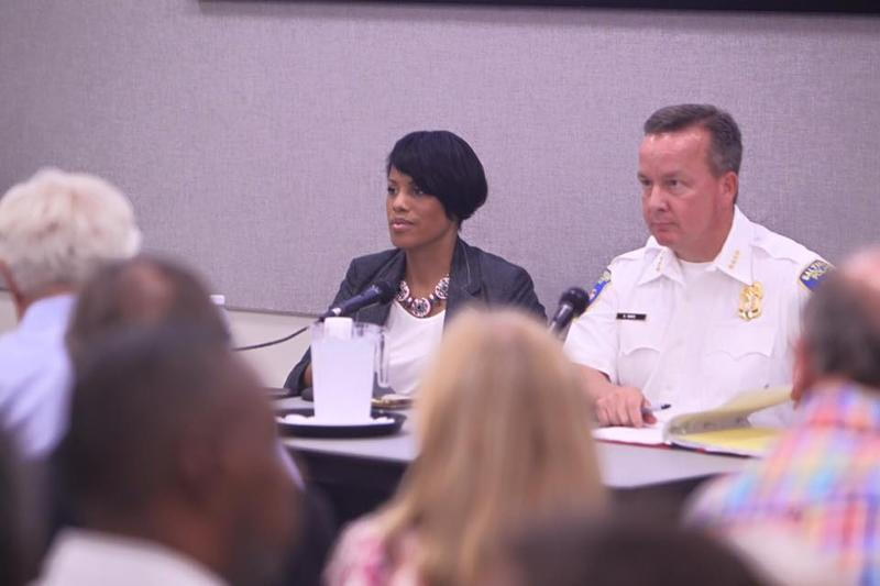 Mayor Stephanie Rawlings-Blake and Interim Police Commissioner Kevin Davis at the Public Safety Forum in Wavelry on Monday.