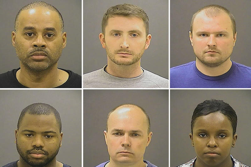 The six Baltimore Police officers charged in Freddie Gray's homicide.