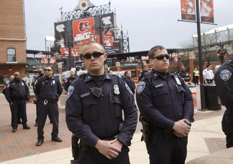 Baltimore Police Officers at Camden Yards.