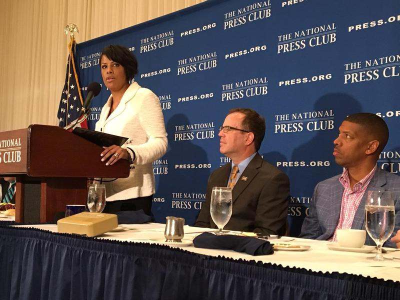 USCM President Mayor Stephanie Rawlings Blake speaks at Press Club DC on Baltimore and our Mayors 2016 agenda.
