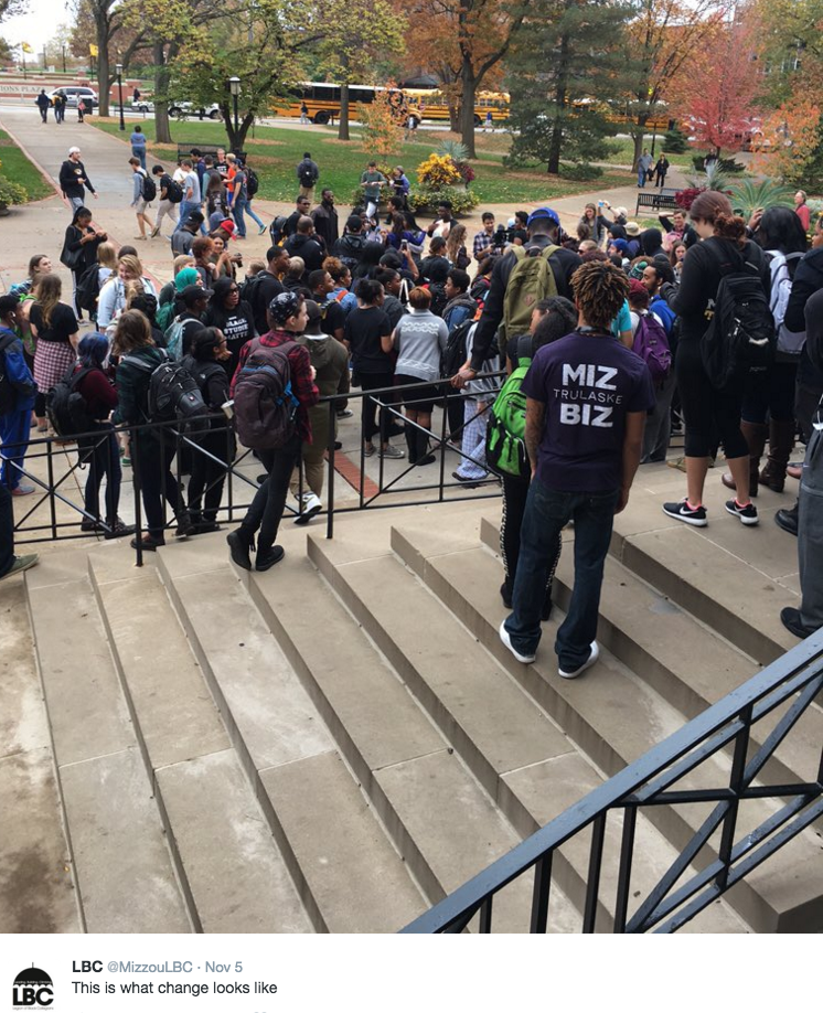 Students protest at the University of Missouri.