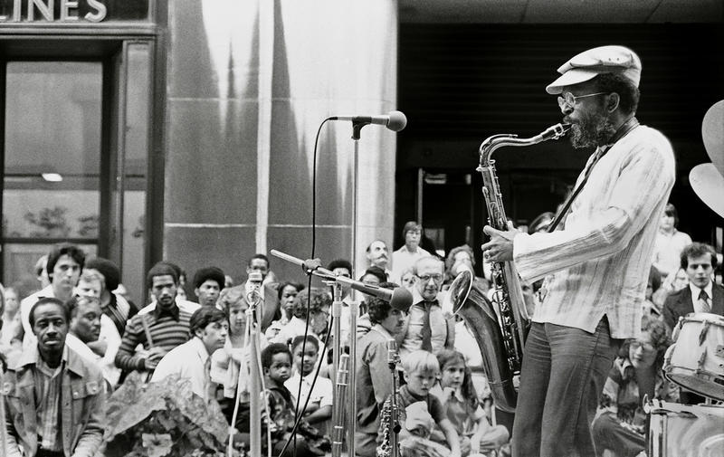 Jimmy Heath with audience at Rockerfeller Center, NYC 1977