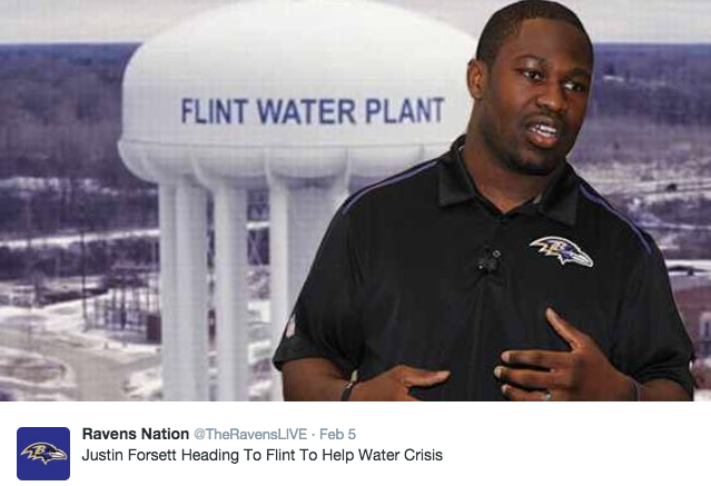 Ravens running back Justin Forsett went to Flint to help the water crisis.
