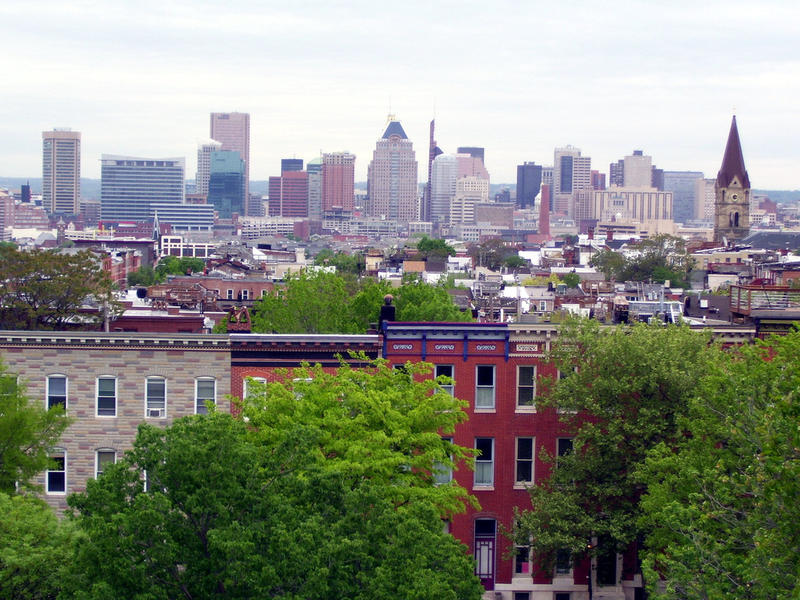 Baltimore City skyline.