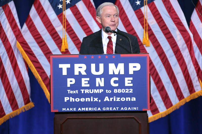 Jeff Sessions speaking at an immigration policy speech hosted by Donald Trump in Phoenix, Arizona. August 2016.
