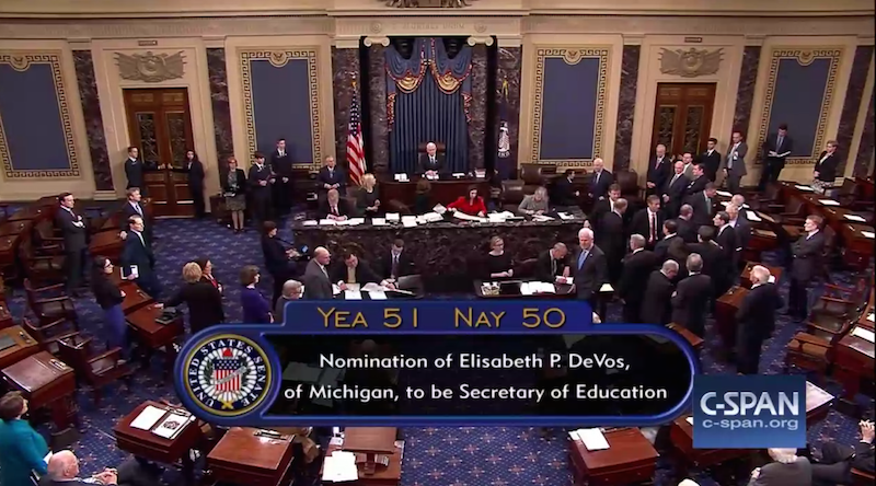 Final vote in US Senate on the confirmation of Betsy DeVos for Secretary of Education, which resulted in a 50-50 tie that had to be broken in DeVos's favor by Vice President Mike Pence.