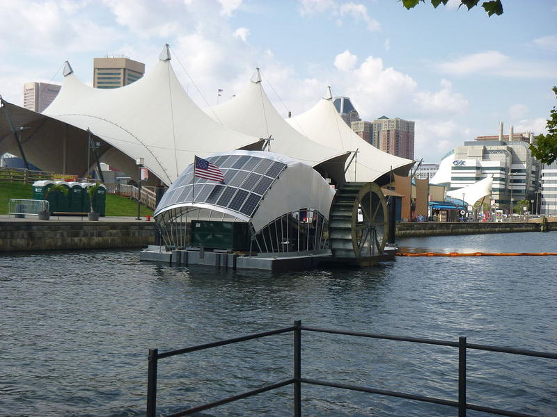 """Mr. Trash Wheel,"" which is used to clean Baltimore's inner harbor."