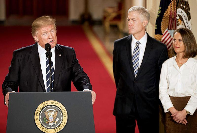 President Donald Trump with Supreme Court nominee Neil Gorsuch at the White House. January 31, 2017.