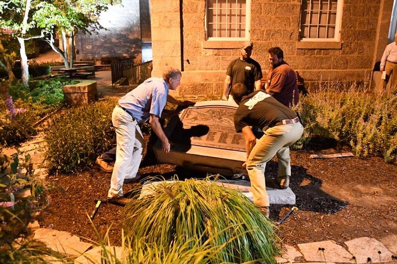 Workers Remove Confederate Monument outside Howard County Courthouse in Ellicott City