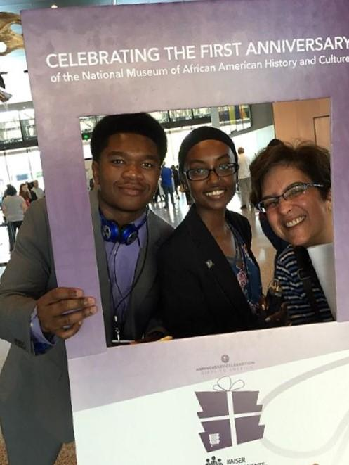 (l-r) Morgan State University Student Reporters Awan Wye, Firdausa Stover and  School of Global Journalism and Communication Assistant Professor Heidi Gerber-Salins