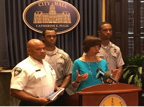 (l-r) Interim Police Commissioner Gary Tuggle, Mayor Catherine Pugh. police cadets