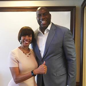 "Baltimore Mayor Catherine Pugh and Earvin ""Magic"" Johnson"