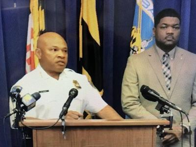 (l-r) Interim Baltimore Police Commissioner Gary Tuggle, BPD Media Relations Chief T.J. Smith