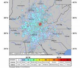 This Community Internet Intensity map by the US Geological Survey shows the intensity of the 4.3 magnitude earthquake that hit Eastern Kentucky, based on responses to an internet survey by those who live in the area. You can fill out the survey here if you felt the quake: http://earthquake.usgs.gov/earthquakes/dyfi/events/se/111012b/us/form.en.disabled.html Source: USGS
