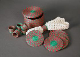 This napkin ring set from Quito, Ecuador will be part of the exhibit.