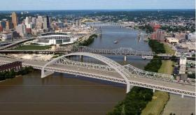 These are renderings of the two alternatives under consideration to replace the Brent Spence Bridge. This tied arch bridge is one of the styles under consideration.