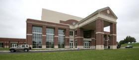 Two-story windows grace the exterior of the EKU Center for the Arts.