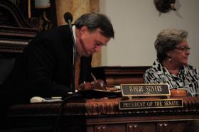 Kentucky Senate President Robert Stivers working late Tuesday night.
