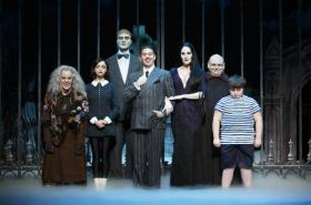 The touring company of the musical version of The Addams Family features Amanda Bruton, left, as Grandma, Jennifer Fogarty as Wednesday, Dan Olson as Lurch, Jesse Sharp as Gomez, KeLeen Snowgren as Morticia, Shaun Rice as Uncle Fester and Jeremy Todd Shinder as Pugsley.