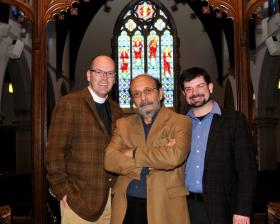 The Rev. Brian Cole, left, and John Linker, right, the respective pastor and music director of Good Shepherd Episcopal Church, are excited about hosting a jazz performance by vibraphonist Dick Sisto, center, and his quartet.