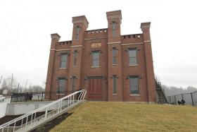 The Kentucky Military History Museum sits on a bluff overlooking downtown Frankfort. The museum, formerly the state arsenal, is re-opening in March after a renovation.