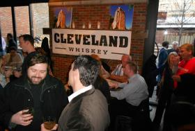 People gathered at the Market Garden Brewery and Distillery for a launch party