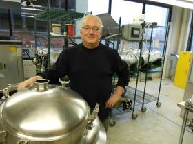Cleveland Whiskey proprietor Tom Lix, and his special apparatus for aging his whiskey in 60 days
