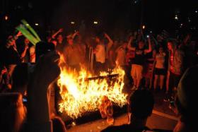 Couch burning in Morgantown, W.Va.