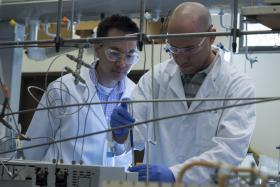 Rice University scientists Michael Wong (left) and Juan Velazquez are working with researchers at DuPont and Stanford University to field test PGClear, a scalable process for removing chlorinated pollutants from water.